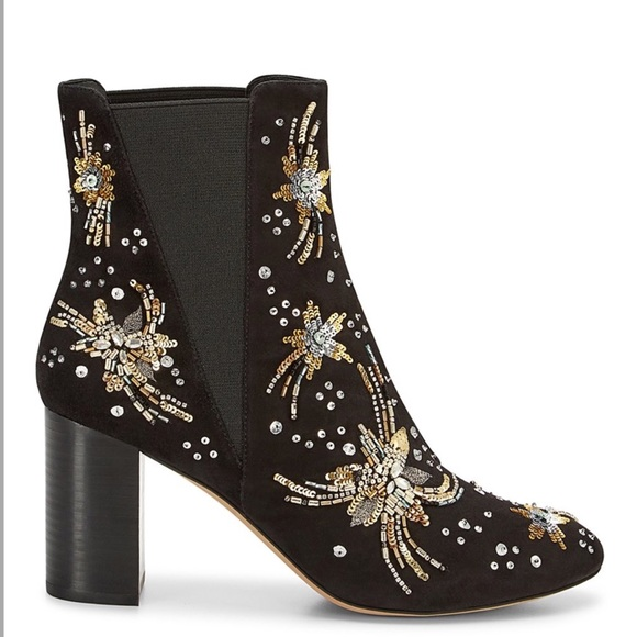 7e7036317 Rebecca Minkoff Shoes | Embroidered Sequin Ankle Boots | Poshmark